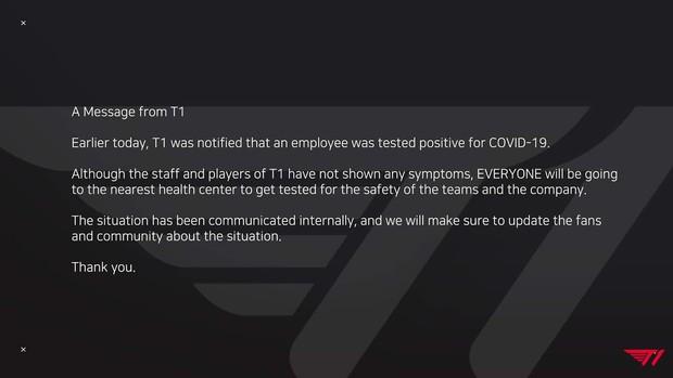 Nhân viên T1 dương tính với COVID-19, Faker có nguy cơ không được tham dự CKTG 2021? - Ảnh 1.