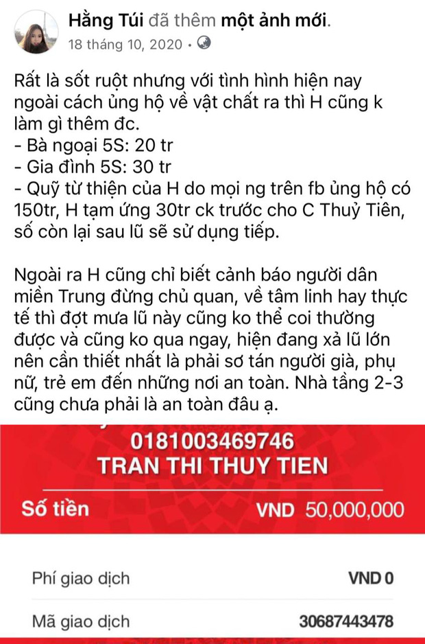 Hằng Túi công khai hoá đơn chuyển 80 triệu từ thiện lũ lụt cho Thuỷ Tiên, nhờ dân mạng tìm giúp em ở 18.000 tờ sao kê - Ảnh 7.