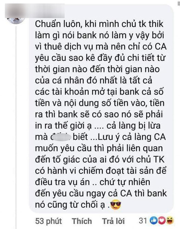 Sau bình luận về vấn đề sao kê Chủ tài khoản thích làm gì thì bank làm y vậy, Giám đốc chi nhánh 1 ngân hàng lên tiếng thanh minh - Ảnh 1.