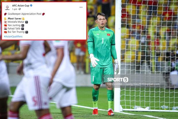 Bắt chính 1 trận, Tấn Trường vẫn xếp top thủ môn vòng loại 3 World Cup 2022 và được AFC vinh danh - Ảnh 2.