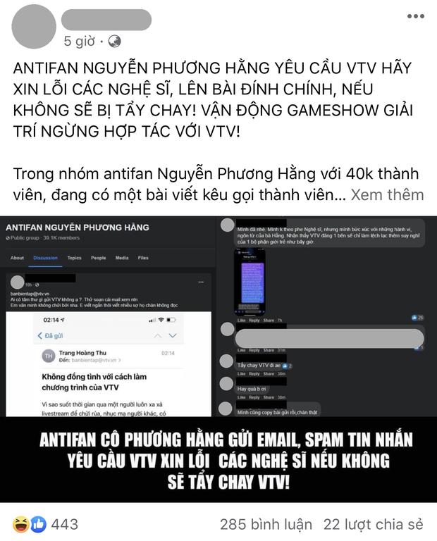 Thành viên trong group 40k antifan bà Phương Hằng gửi mail đòi tẩy chay VTV nếu không xin lỗi nghệ sĩ: Netizen chỉ trích gay gắt! - Ảnh 1.