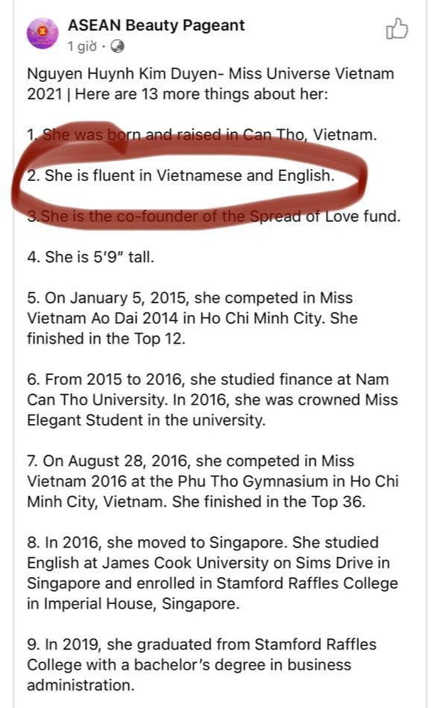 Khen Á hậu Kim Duyên giỏi tiếng Anh, fanpage gần 500k follow phải xóa bài đăng vì bị netizen phản đối - Ảnh 1.