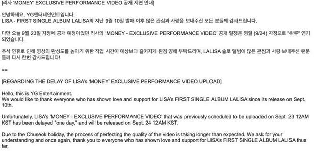 Cợt nhả như YG: Lùi ngày phát hành sản phẩm mới của Lisa vì bận đi chơi Trung thu? - Ảnh 2.
