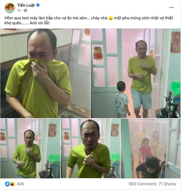 Tiến Luật xin lỗi Thu Trang vì suýt làm cháy nhà, loạt ảnh chạy khói trông rất thương nhưng biết lí do thì không nhịn được cười - Ảnh 1.