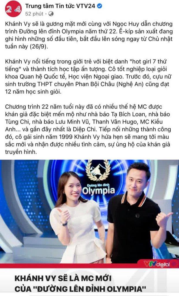 VTV24 đưa tin Khánh Vy làm MC chính thức của Đường Lên Đỉnh Olympia, nói một câu mà netizen ủng hộ quá chừng - Ảnh 1.
