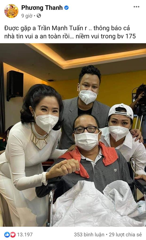 Phương Thanh báo tin vui về NS Trần Mạnh Tuấn sau khi bị đột quỵ, nói thế nào khi được hỏi tình hình của Phi Nhung? - Ảnh 2.