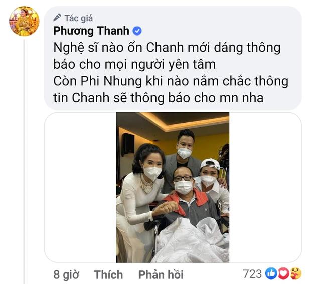 Phương Thanh báo tin vui về NS Trần Mạnh Tuấn sau khi bị đột quỵ, nói thế nào khi được hỏi tình hình của Phi Nhung? - Ảnh 3.