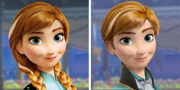 Cười xỉu khi các nhân vật Disney huyền thoại bị hoán đổi giới tính: Elsa đẹp trai hết hồn nhưng nhan sắc trùm cuối mới gây hoang mang! - Ảnh 3.