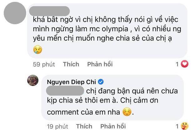 MC Diệp Chi âm thầm làm điều này khi netizen vẫn tràn vào hỏi: Vì sao không tiếp tục dẫn Olympia? - Ảnh 4.