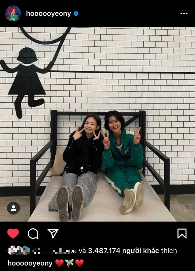 Jennie ghé trường quay Squid Game, giúp cô bạn thân Jung Ho Yeon lập kỷ lục mới trên Instagram cá nhân - Ảnh 2.