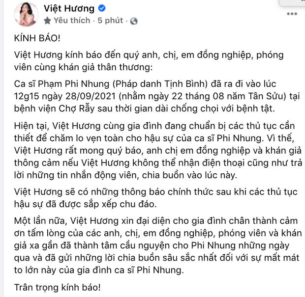 THÔNG BÁO: Thời gian diễn ra Lễ tưởng niệm và cầu siêu cho nữ ca sĩ Phi Nhung - Ảnh 4.