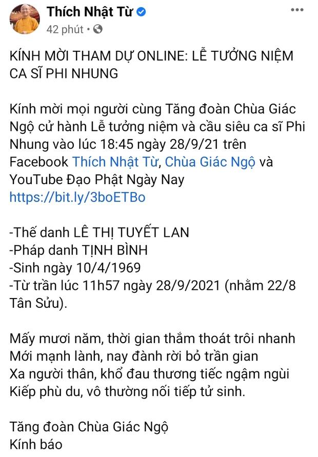 THÔNG BÁO: Thời gian diễn ra Lễ tưởng niệm và cầu siêu cho nữ ca sĩ Phi Nhung - Ảnh 2.