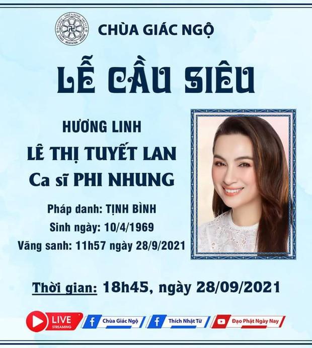 THÔNG BÁO: Thời gian diễn ra Lễ tưởng niệm và cầu siêu cho nữ ca sĩ Phi Nhung - Ảnh 3.