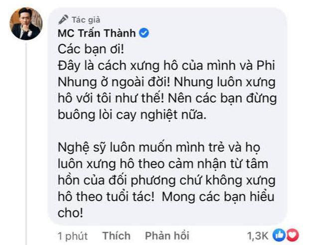 Netizen chỉ trích Trấn Thành dữ dội về cách xưng hô bạn - tôi dù kém cố NS Phi Nhung 17 tuổi, chính chủ giải thích có hợp lý? - Ảnh 2.