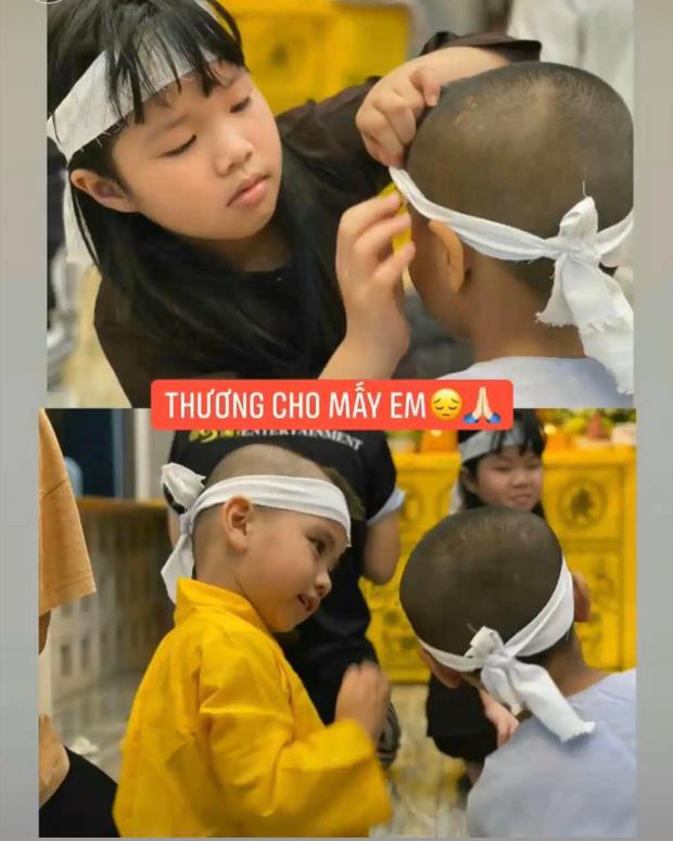 Các con nuôi của ca sĩ Phi Nhung đội tang mẹ, ánh mắt hồn nhiên và cử chỉ chăm sóc nhau gây chạnh lòng - Ảnh 2.