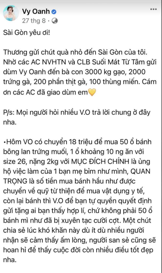 Độc quyền: Vy Oanh lên tiếng khi liên tiếp bị vu khống, làm rõ chuyện quyên góp 50 chiếc bánh giữa danh sách ủng hộ tiền tỷ - Ảnh 4.