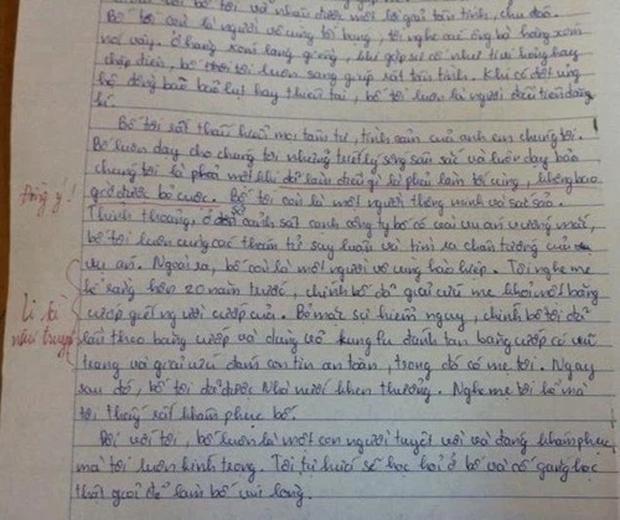 Bài văn tiểu học tả bố, dân mạng cười sặc vì tưởng đọc truyện trinh thám:  Bố lần theo và dùng võ Kungfu đánh tan băng cướp có vũ trang, giải cứu con tin - Ảnh 1.