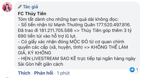 Phía Thuỷ Tiên lên tiếng làm rõ về số tiền từ thiện, hẹn livestream sao kê tại ngân hàng giữa loạt ồn ào - Ảnh 3.