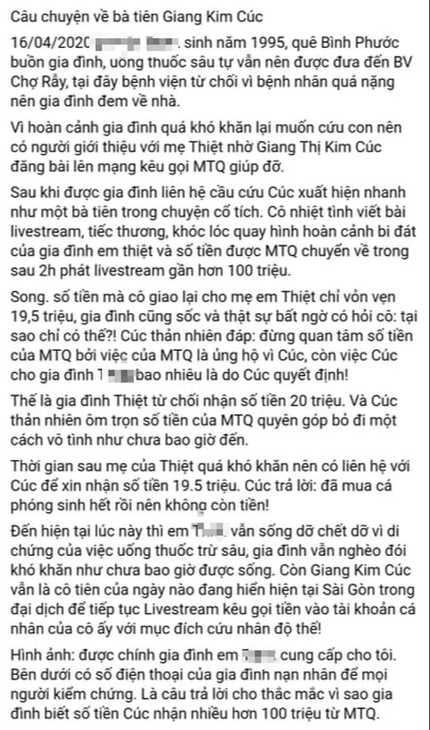 Bị tố ăn chặn gần 100 triệu đồng tiền từ thiện, trưởng nhóm Mai táng 0 đồng Giang Kim Cúc nói gì? - Ảnh 1.