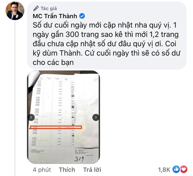 Netizen soi bằng được 1 chi tiết bất hợp lý trong sao kê, Trấn Thành lập tức lên tiếng: Coi kỹ dùm Thành! - Ảnh 2.