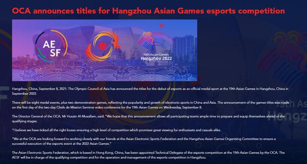 Liên Minh Huyền Thoại cùng 7 game Esports được đưa vào danh mục bộ môn tranh huy chương tại Á vận hội Hàng Châu 2022 - Ảnh 2.