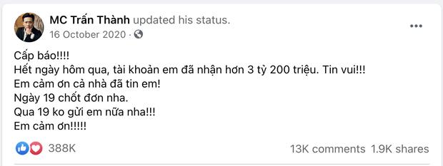 Trấn Thành từng thông báo nhận 3,2 tỷ đồng sau 3 ngày kêu gọi, netizen phát hiện số liệu không khớp với sao kê thực tế? - Ảnh 1.