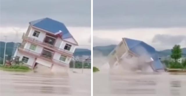 Cảnh Tượng Gay Sốc Ngoi Nha 3 Tầng đổ Sụp Chỉ Sau Vai Giay Trong Trận Lũ Lụt Tan Pha Nghiem Trọng ở Trung Quốc