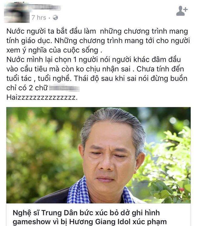 Khán giả phản ứng gay gắt khi Hương Giang Idol xúc phạm nghệ sĩ Trung Dân - Ảnh 2.