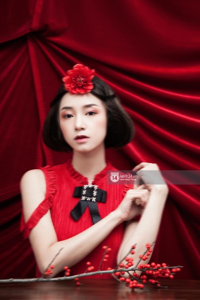 3 nàng hot girl Salim, Sun HT, Lê Vi xinh lạ trong những mẫu áo dài cách tân độc đáo - Ảnh 15.