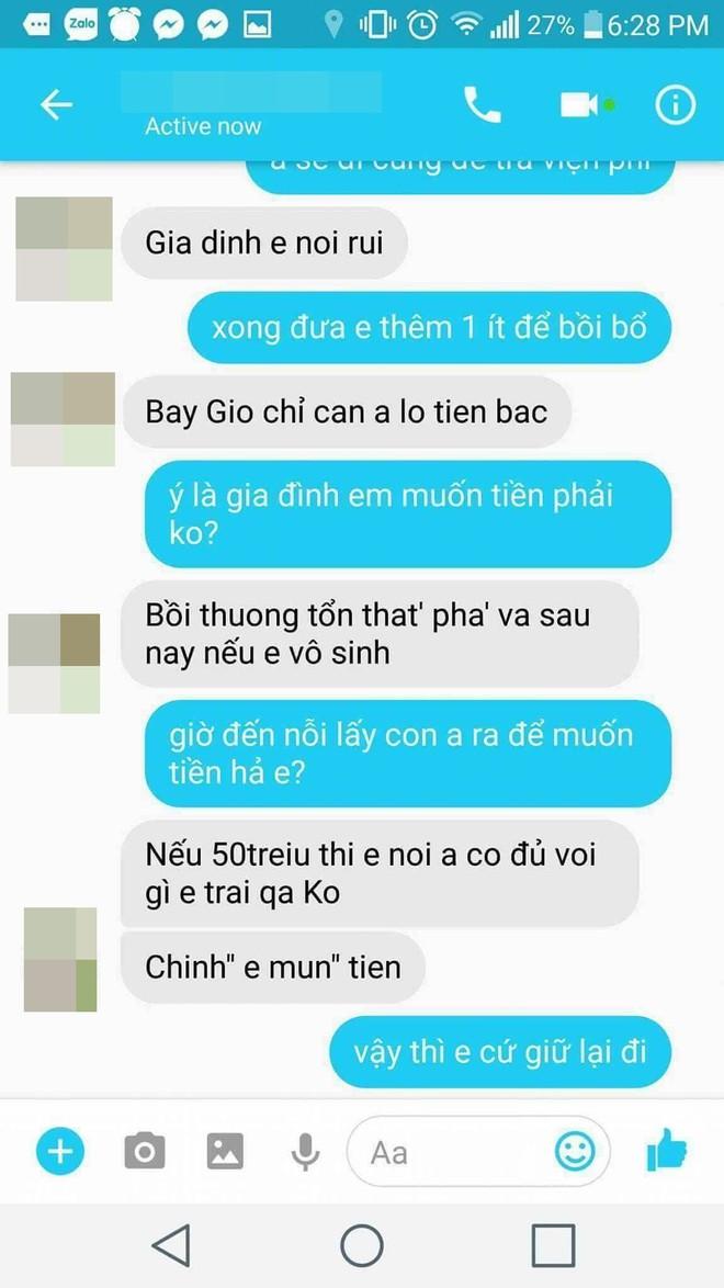 """Cô gái bị ép phá thai lên tiếng sau khi lộ SMS """"đòi tiền đền bù"""": Chính mẹ anh đưa 50 triệu bắt tôi bỏ con, tôi nhắn như thế vì quá bực! - Ảnh 3."""