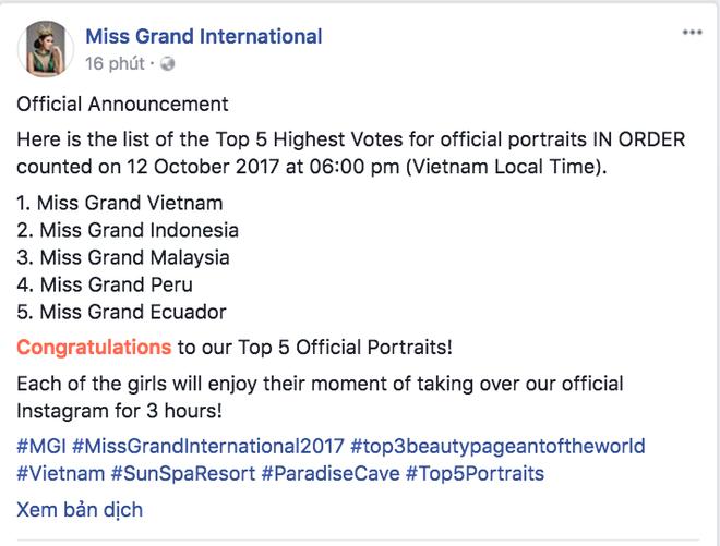 Từ trượt top 15, Huyền My trở lại ngoạn mục dẫn đầu danh sách thí sinh được yêu thích nhất tại Miss Grand International 2017 - Ảnh 1.
