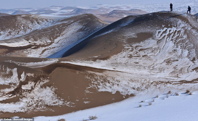 Nhiệt độ xuống -25 độ C, sa mạc ở Trung Quốc phủ đầy tuyết trắng - Ảnh 1.