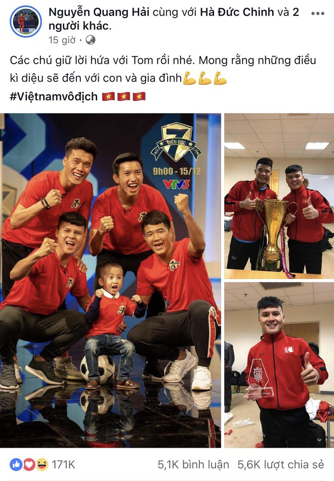 Quang Hải hoàn thành lời hứa mang cúp vàng vô địch về cho Tom - cậu bé 4 tuổi mắc ung thư não - Ảnh 1.