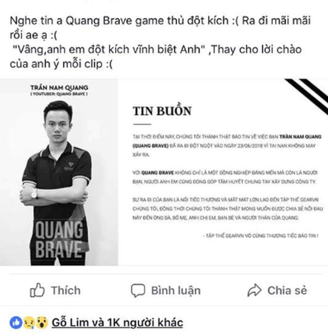 Game thủ nổi tiếng Quang Brave qua đời ở tuổi 21 vì bệnh tim - Ảnh 1.