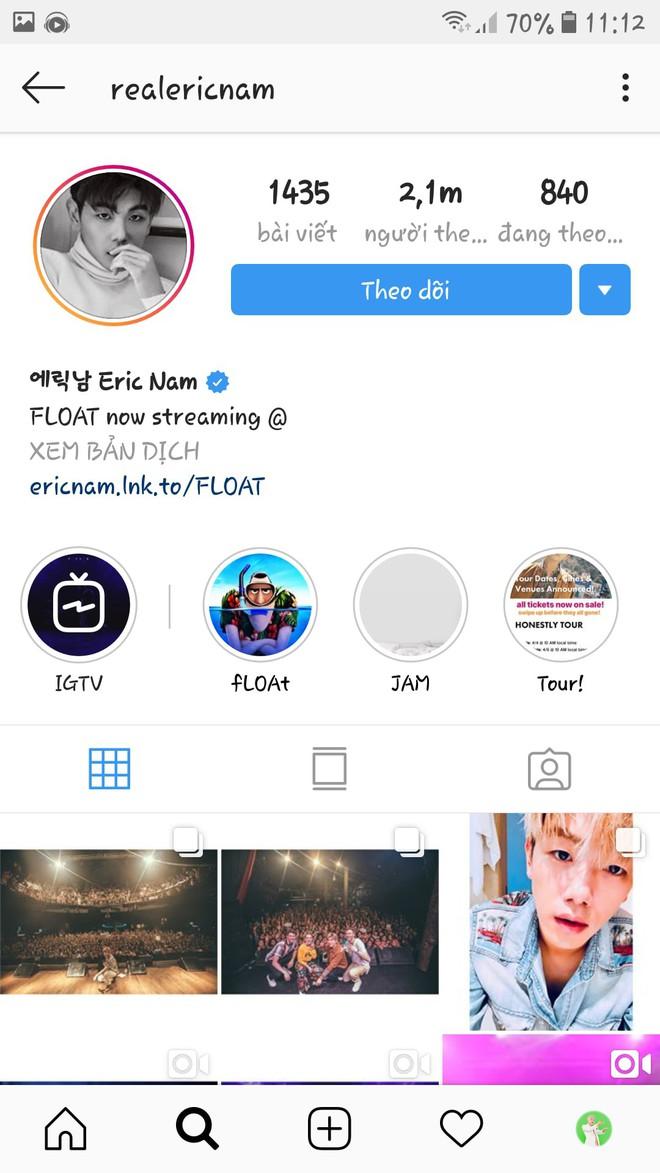 Sơn Tùng MT-P được Eric Nam theo dõi trên Instagram