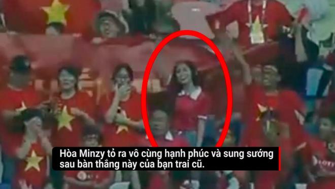 Hoà Minzy vui mừng, hào hứng trước bàn thắng của Công Phượng.
