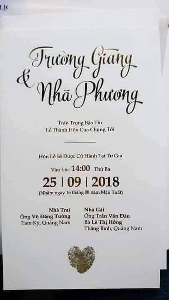 Đám cưới Trường Giang Nhã Phương: Cận cảnh thiệp cưới vào ngày 25/9 - ảnh 1