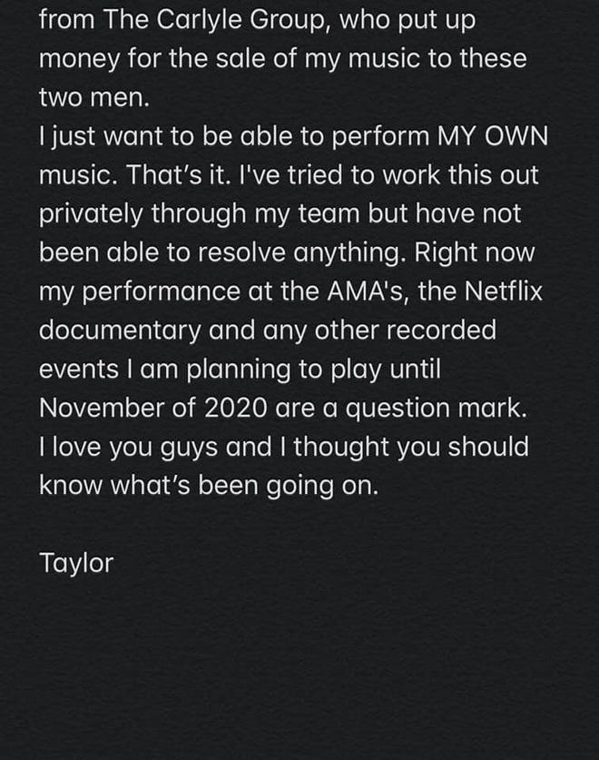Nóng: Taylor Swift đăng tâm thư cầu cứu trên tất cả mạng xã hội vì không được phép biểu diễn ca khúc của chính mình! - Ảnh 3.