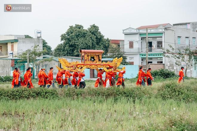"""Hành trình rước heo kéo dài khoảng 3km quanh làng, hai """"ông ỉn"""" được ăn bánh quy và uống nước lọc để giữ sức."""
