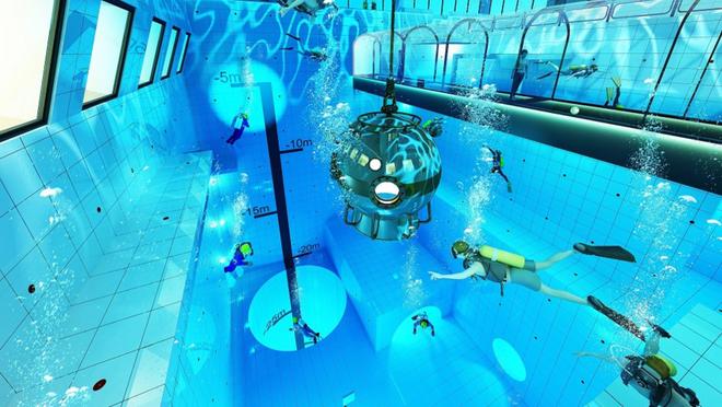 Chiêm ngưỡng hồ bơi sâu nhất thế giới thách thức mọi thợ lặn sắp mở cửa vào mùa thu năm nay - Ảnh 4.