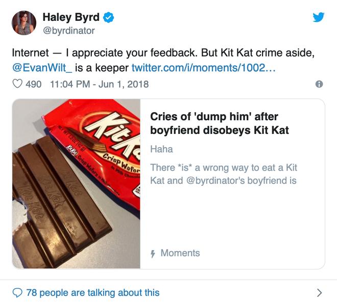 Ăn Kit Kat kiểu nổi loạn, thanh niên bị dân mạng ném đá và đề nghị bạn gái chia tay - Ảnh 4.