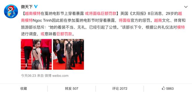 Sau Hàn Quốc, Ngọc Trinh lọt top tìm kiếm Weibo vì ăn mặc hở hang tại Cannes, Cnet lên tiếng chỉ trích - Ảnh 3.