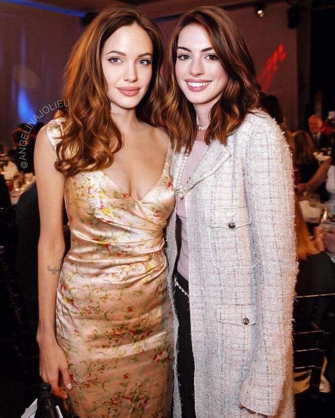 Lộ ảnh nữ thần Anne Hathaway đẹp xuất sắc thuở chưa bung xõa, ai dè... bị Angelina Jolie đè bẹp trong 1 khung hình - ảnh 1