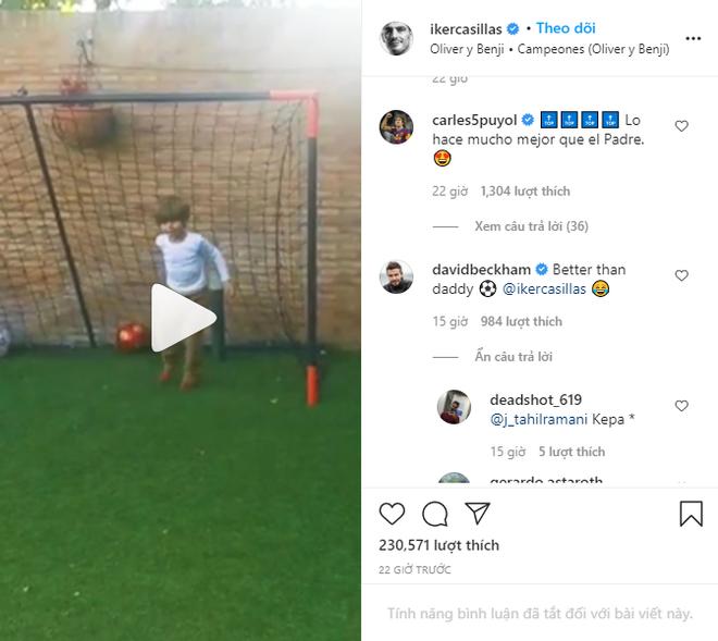 Con trai của huyền thoại Casillas có pha cứu thua xuất thần, khiến cả David Beckham cũng phải vào bình luận khen ngợi - ảnh 1