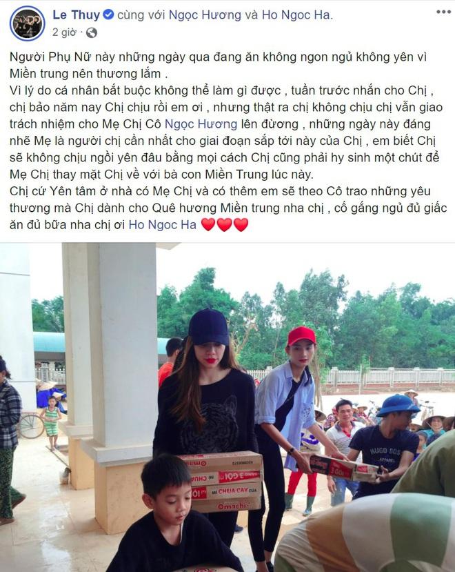 Lê Thúy tiết lộ tâm trạng của Hồ Ngọc Hà khi không thể có mặt ở miền Trung cứu trợ người dân - ảnh 1