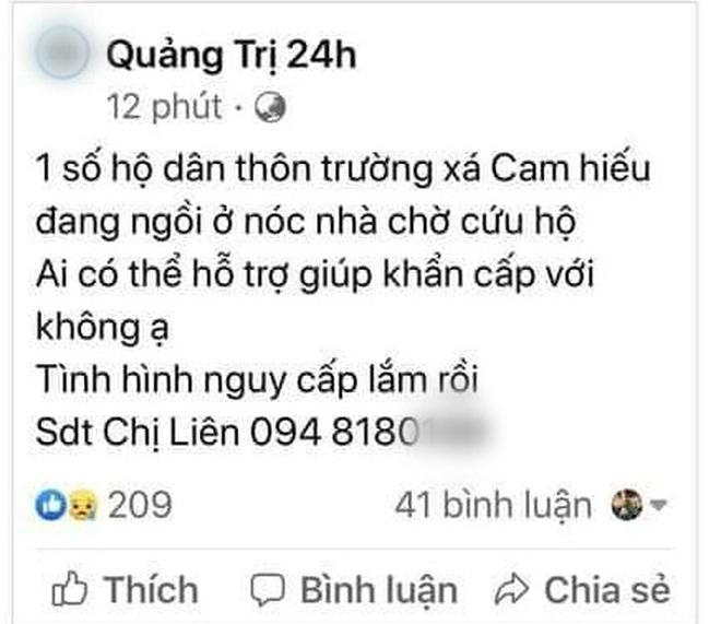 Nhiều người dân Quảng Trị đồng loạt lên mạng kêu cứu khi lũ bất ngờ lên nhanh trong đêm - ảnh 12