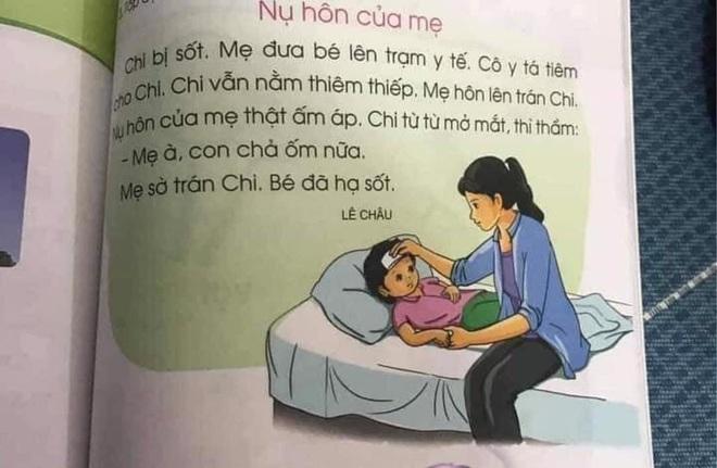 Mẩu truyện trong sách lớp 1 gây tranh cãi: Bé sốt nhưng cô y tá tiêm thì thiêm thiếp, đến khi mẹ hôn lại khỏi bệnh? - ảnh 1