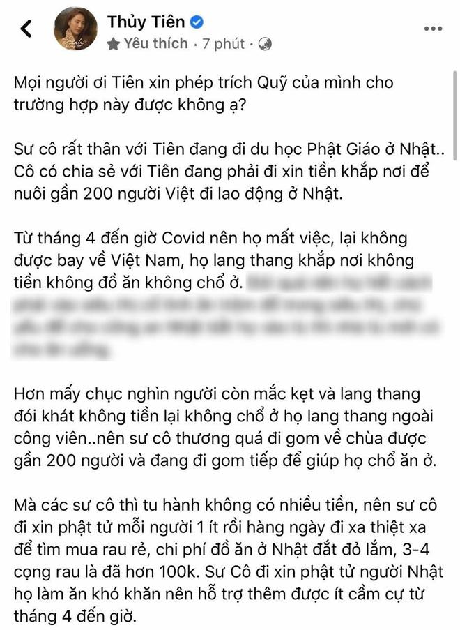 Công chúng xôn xao việc Thuỷ Tiên xin trích quỹ cứu trợ miền Trung giúp 200 người lao động Việt, nữ ca sĩ có động thái trấn an luôn và ngay - ảnh 1