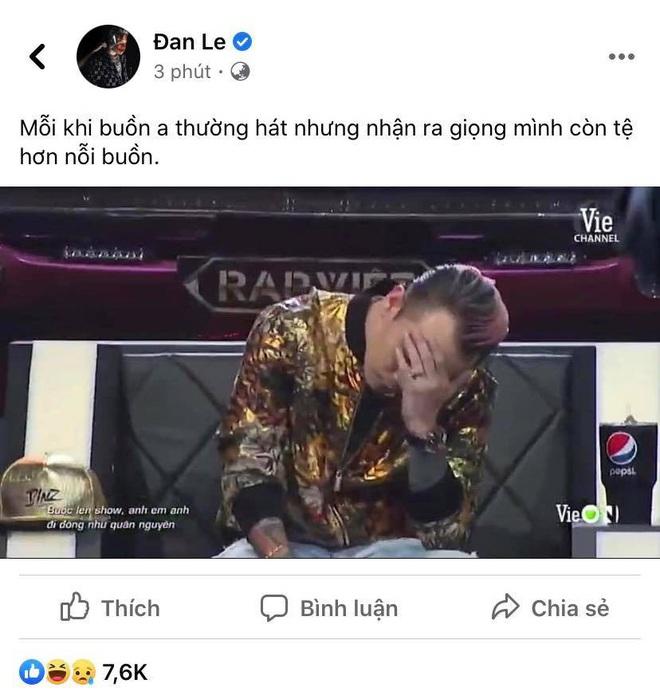 Binz đăng lại khoảnh khắc ôm đầu bất hủ ở Rap Việt cùng chia sẻ mặn hơn muối - ảnh 3