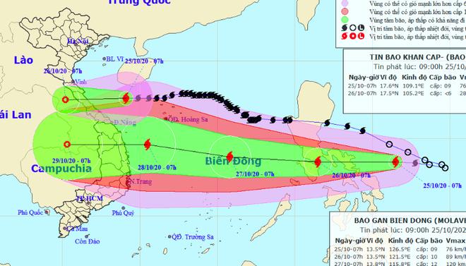 Bão số 8 đổ bộ Hà Tĩnh-Quảng Trị đêm nay, bão số 9 khả năng giật cấp 15 nối gót vào Biển Đông đêm mai - ảnh 1